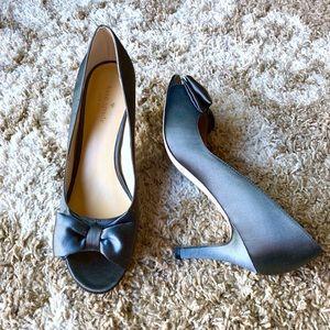 Kate Spade Satin Gray Peep Toe Bow Heels